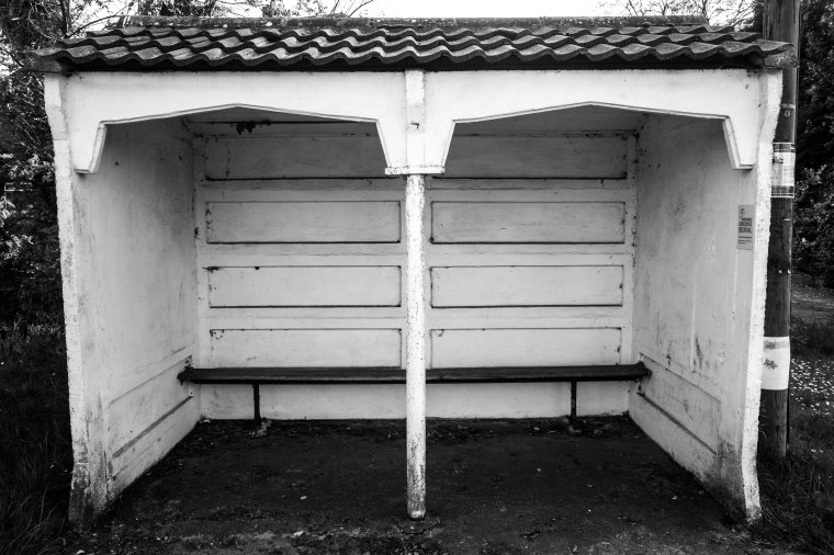 UTILITARIAN BUS SHELTER AT PIDLEY, THE FENS